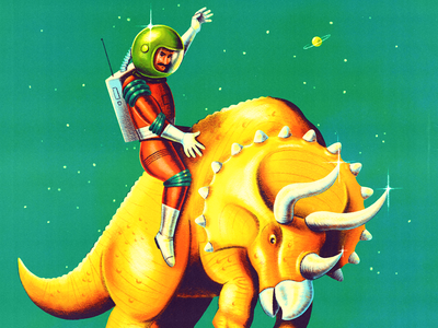 Space Rodeo cosmonaut space astronaut triceratops dinosaur pulp fiction pulp art sci fi procreate ipad pro art vintage retro illustration
