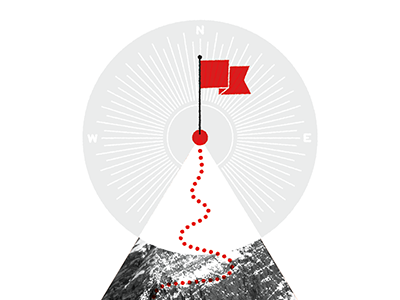 Mountain Peak mountain climbing flag compass success infographic trail path summit