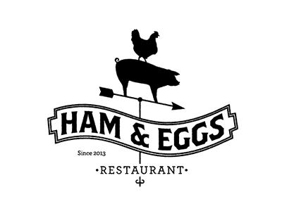 Ham And Eggs Restaurant restaurant ham eggs chicken pig farm food logo branding design illustration seal badge