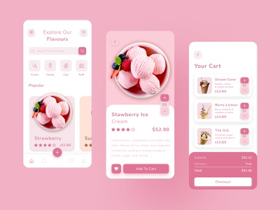 Ice Cream Concept App ux design ui design food delivery delivery app minimal branding application flavor strawberry vanilla ios ecommerce colorful pink cream ice cream app icecream food app design