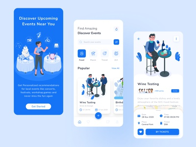 Event Discovery App ui map party discovery management planing program tranding mobile app event app illustration colorful minimal typography creative icon event ticket app design