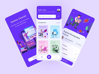 Online Course App ux ui online education ios course app colorful study illustration education student learning app search minimal mobile app clean teacher online course app design