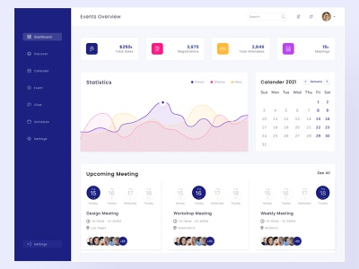 Event Dashboard Design ui design dashboard event calander interface management meeting meetup puple discovery ux ui