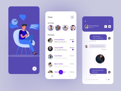 Chat App Design ux design ui design illustration userinterface webdesign android conversation ios app chating send colorful typography app concept massanger massage chat app design