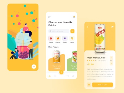 Fresh Juice App ux ui ecommerce product application restaurant cane ios clean colorful minimal juice app grocery fruits drinks health online shop fruite juice app design