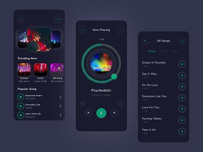 Music Player App ui icon figma application concept colorful dark digital playlist song web design branding minimal clean typography ios app modern music app music player app design