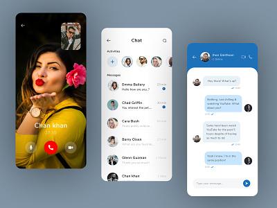 Chat & Call App Design ux ui application creative branding design colorful messenger ios app minimal message chat video video call app chating app app design