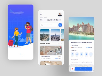 Hotel Booking App Design ux ui figma application typography icon flat explore clean simple travel booking hotel hotel booking app app design