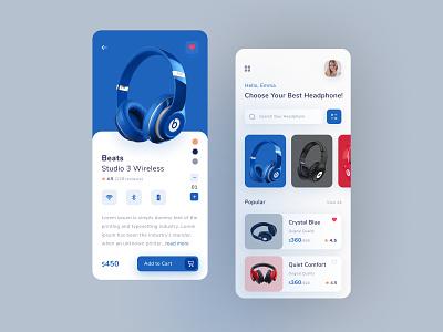 Headphone Store App uiux ui clean figma ios product explore colorful trending application ecommerce shop store online shop headphone store app headphone app design