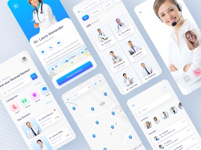 Doctor Consultation App Design ui doctor list chating video call hospital location specialist colorful ios clean typography healthcare minimal health app illustration doctor app online consultation doctor consultation medical app app design