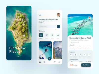Tour & Traveling App Design ux ui typography clean minimal travel agency beach places application mountain adventure colorful ios app booking app trips traveling mobile app