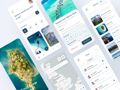 Tour & Traveling App Design ui ux chating location clean minimal travel agency beach places application mountain adventure colorful ios app booking app trips travel app mboile app