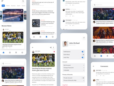 News App Design ux design ui design live play bookmarks comments profile live details colorful ios app creative minimal clean design newsfeed newsletter branding newspaper news news app