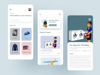 Laundry App ui clean ui mobile app application illustration branding washing ironing cleaning clothes laundry laundry app