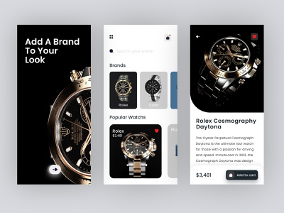 Watch Shop App ux ui ios app luxury brand clean ui products drake application watching ecommerce minimal uidesign trendy watches shoping app online shoping online shop watch app