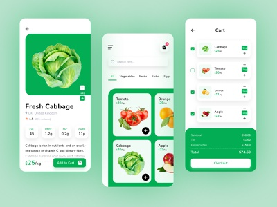 Farme App ux ui add to cart application clean ui cart ecommerce farmer fruit groceries ios app user interface vegetable farme app