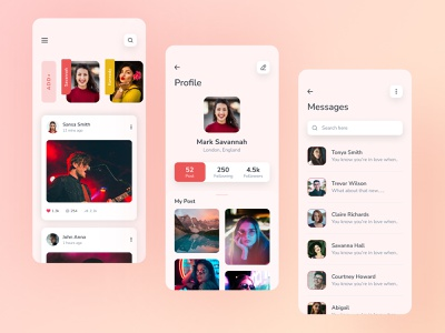 Social Media App ui design clean design figma creative webdesign concept colorful mobile app ui kit design icons social network social media design social media app poster message profile social app