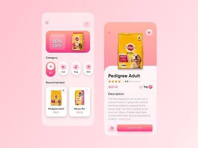 Pet Food App Design ui ios app food shop interface creative design minimal online food app ecoomerce app dailyui figma colorful design pets food pet care pet food app mobile app