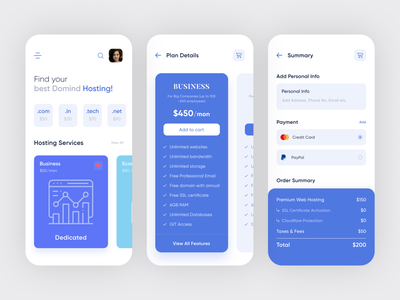 Hosting and Domain App Design service business ui order summary info payment summary plan details clean design online hosting agency service typogaphy pricing user interface modern online hosting app online domain app minimal hosting and domain app mobile app