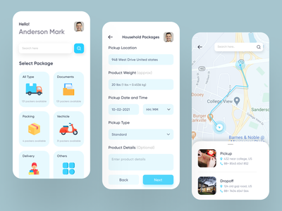 Courier Service App minimal product weight vechicle documents parcel application design ios app package delivery interface product logistics delivery app delivery service tracking app courier location tracker online delivery app courier app mobile app