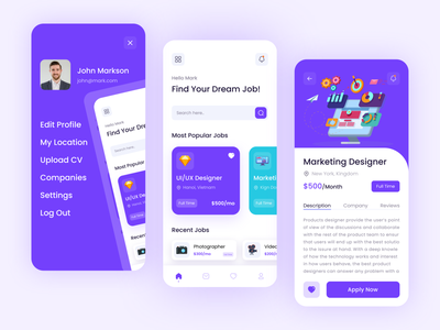 Job Finder App Design inspiration app concept designer job creative job job listing product message profile recent job popular jon ios app colorful clean design minimal job app job finder job search job portar job application