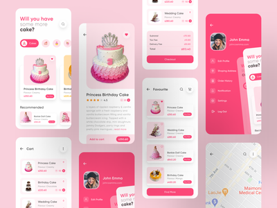 Online Cake Shop App application ios app cakeshop restaurant minimal pink colorful favourite location profile cartoon wedding cake birthday cake bakery marketplace ecommerce app cakes desserts delivery online shop