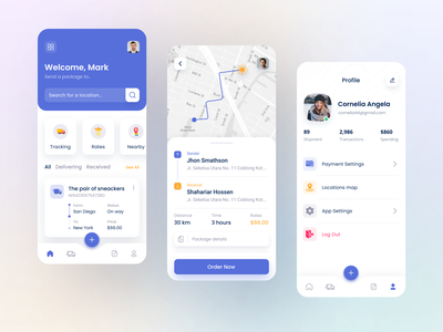 Logisitc App Design colorful design search minimal clean design parcel ios counier cargo transport home screen profile delivery logistic app maps location user interface contact shipping tracking android