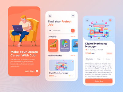 Job Finder App uiux colorful app ios mobile app illustration minimalist concept clean ui finder vacancy career job seeker hiring recruitment job listing job application job finder job search job portal job app