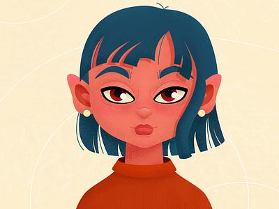 girl 8 girl flat vector illustration