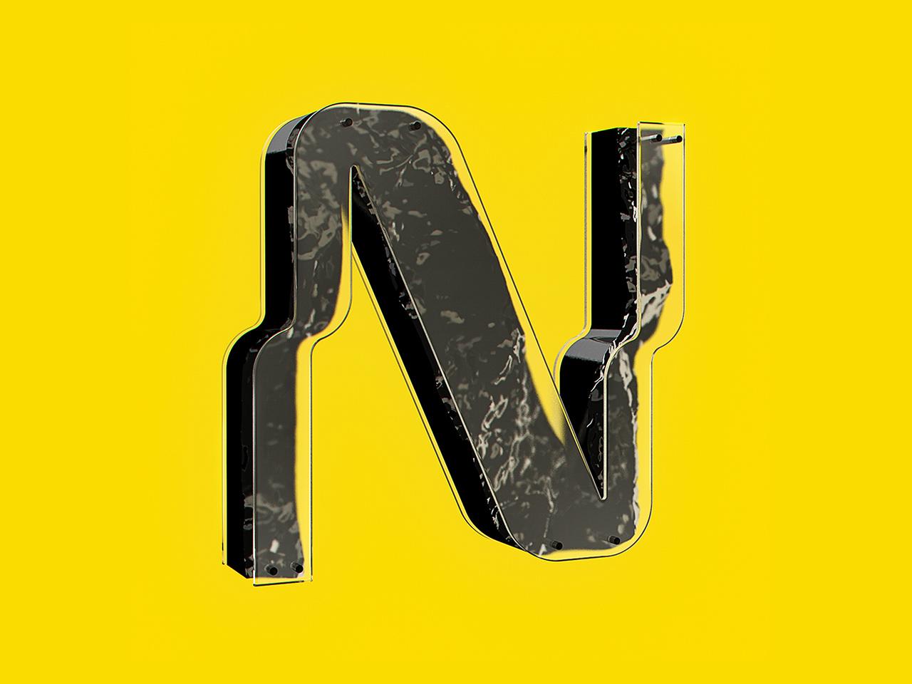N letterwork lettering letter c4d42 36daysoftype-n 36daysoftype