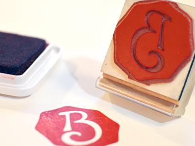 B monogram stamp