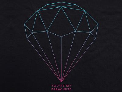 Joshua Micah / Parachute wireframe low poly apparel t-shirt merch music geometric parachute joshua micah