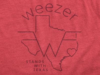 Weezer / Hurricane Harvey Relief Tee band merch merch vintage monoline love apparel t-shirt relief harvey hurricane weezer