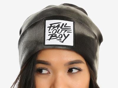 Fall Out Boy / Brush Logo Acid Wash Beanie hand lettering logo emo punk music merch lettering brush beanie acid wash hot topic fall out boy
