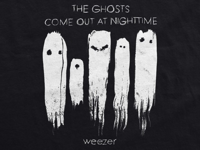 Weezer / The Ghosts Come Out At Nighttime shirt scratchy horror grunge brush t-shirt merch music pacific daydream ghosts weezer