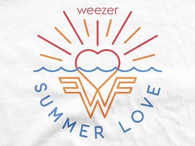 Weezer / Summer Love love beach shirt monoline ocean heart t-shirt merch music pacific daydream summer weezer
