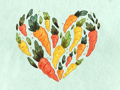 Colorful Carrots spot illustration heart carrots easter illustration hand drawn digital illustration