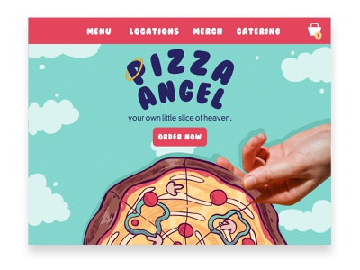 Pizza Angel Home Page branding and identity webpage pizza rebound food illustration branding digital illustration