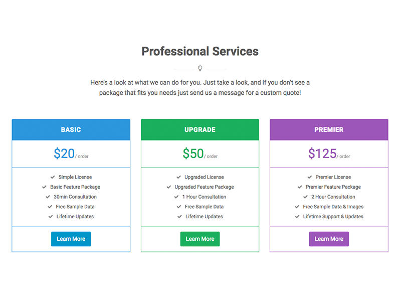 Pricing Tables - WordPress Builder Module colors flat builder wp wordpress themes template prices tables pricing tables pricing