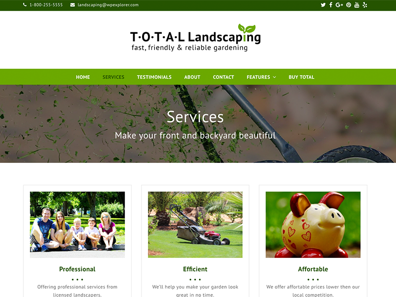 Landscaping  - Total WordPress Theme Demo small business environmental eco templates themes wordpress website green services business gardening landscaping