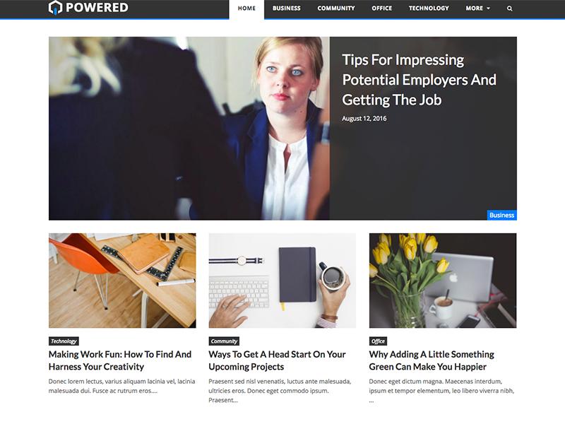Powered free wordpress theme