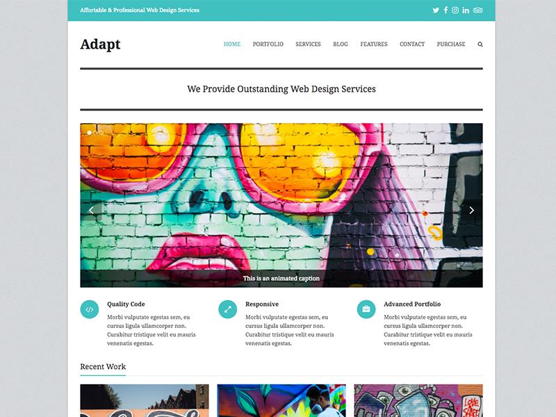 Adapt - Total WordPress Theme Portfolio Demo template theme product website wordpress templates themes boxed corporate business portfolio