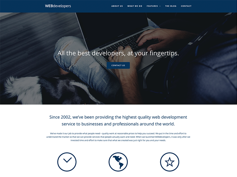 Webdevelopers - Total WordPress Theme Demo icons parallax blue wordpress themes template website corporate portfolio business