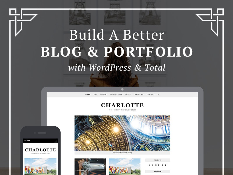 Charlotte, A Portfolio & Blog Design mobile responsive wordpress theme web design theme wordpress minimal grid modern portfolio