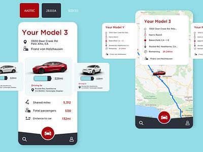 Tesla Sharing App tesla ui simplistic app ui minimal flat design app