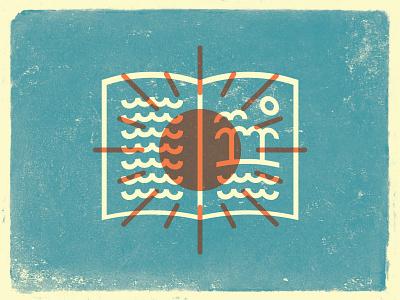 Summer Reading - Icon waves sand texture church vector ocean summer beach icon book sun illustration design branding logo