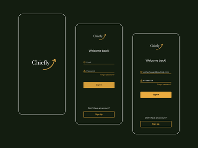 Login flow for fictional app ux design ui mobile app design app figma leadership startup chiefly dark theme mobile ui mobile app password sign in login