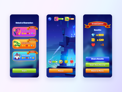 Mobile Fantasy Game – UI Concept play mobile app design challenge characters mobile ui mobile app gaming ux design ux illustrations fantasy game design