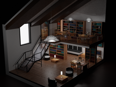 My ideal library 3d animation eveerender 3dblender blender 3d cyclesrender 3dmodels modelling 3dartwork 3dartist 3ddesign