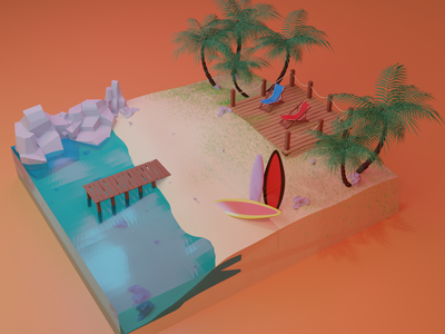 My private island blendercycles modelling color3d 3dillustration lowpoly3d 3d art blender3d illustration